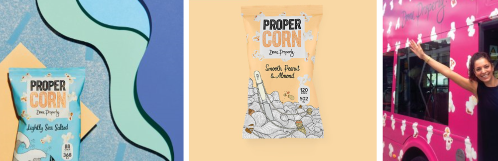 PROPERCORN is colourful in everything they do. A brand to be proud of, Cassandra on the far right. SOURCE:  https://www.propercorn.com/