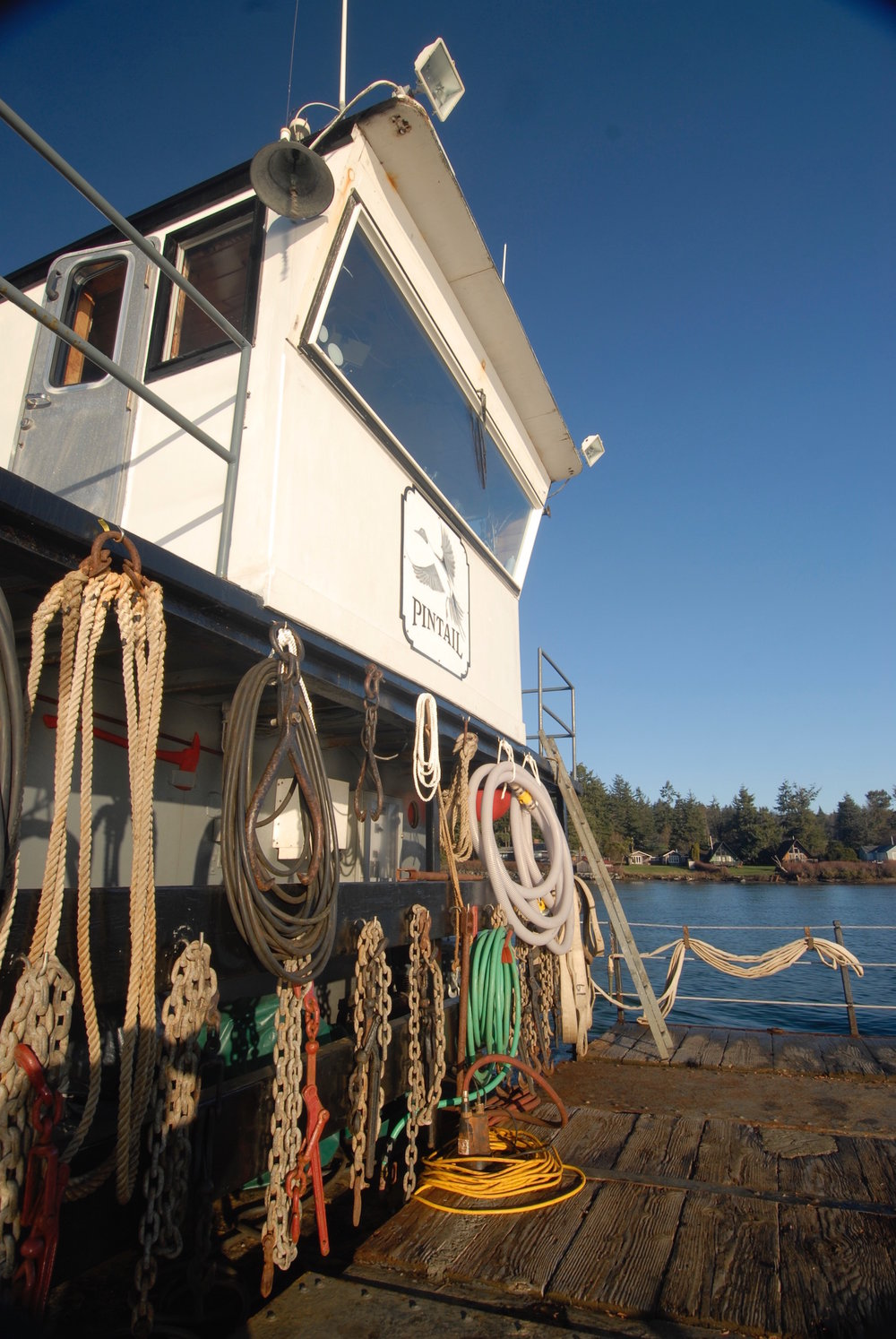 View of the Pintail's wheel house from the work deck