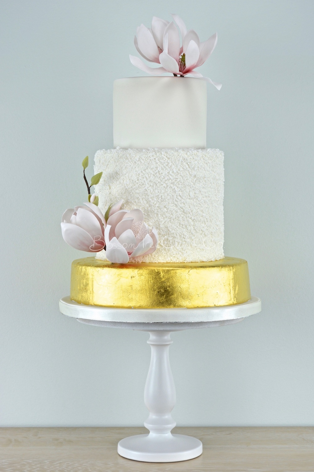 White and Gold Leaf with Magnolias wedding cake by Blossom Tree Cake Co Harrogate North Yorkshire_portrait.jpg