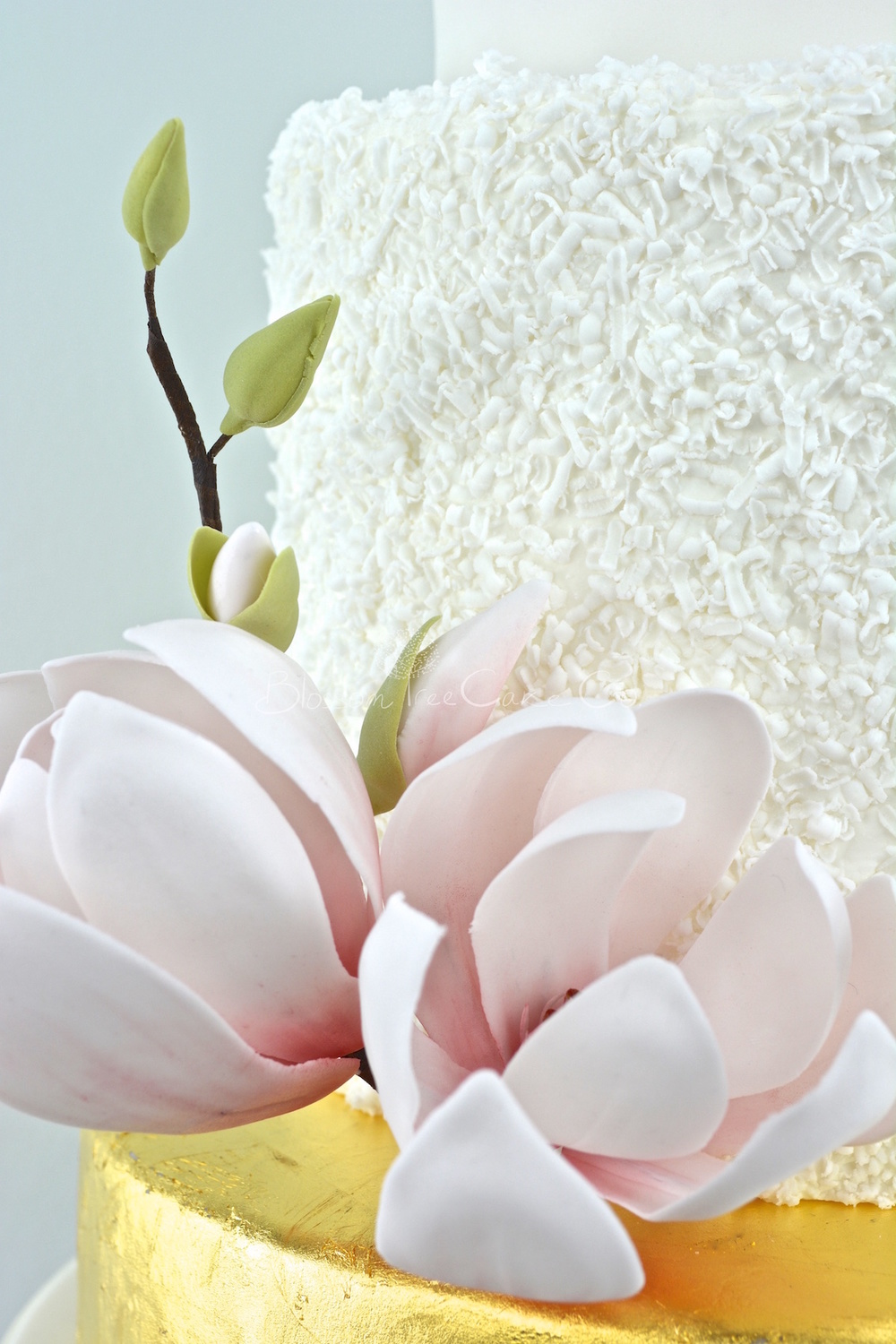 White and Gold Leaf with Magnolias wedding cake by Blossom Tree Cake Co Harrogate North Yorkshire_flower 1.jpg