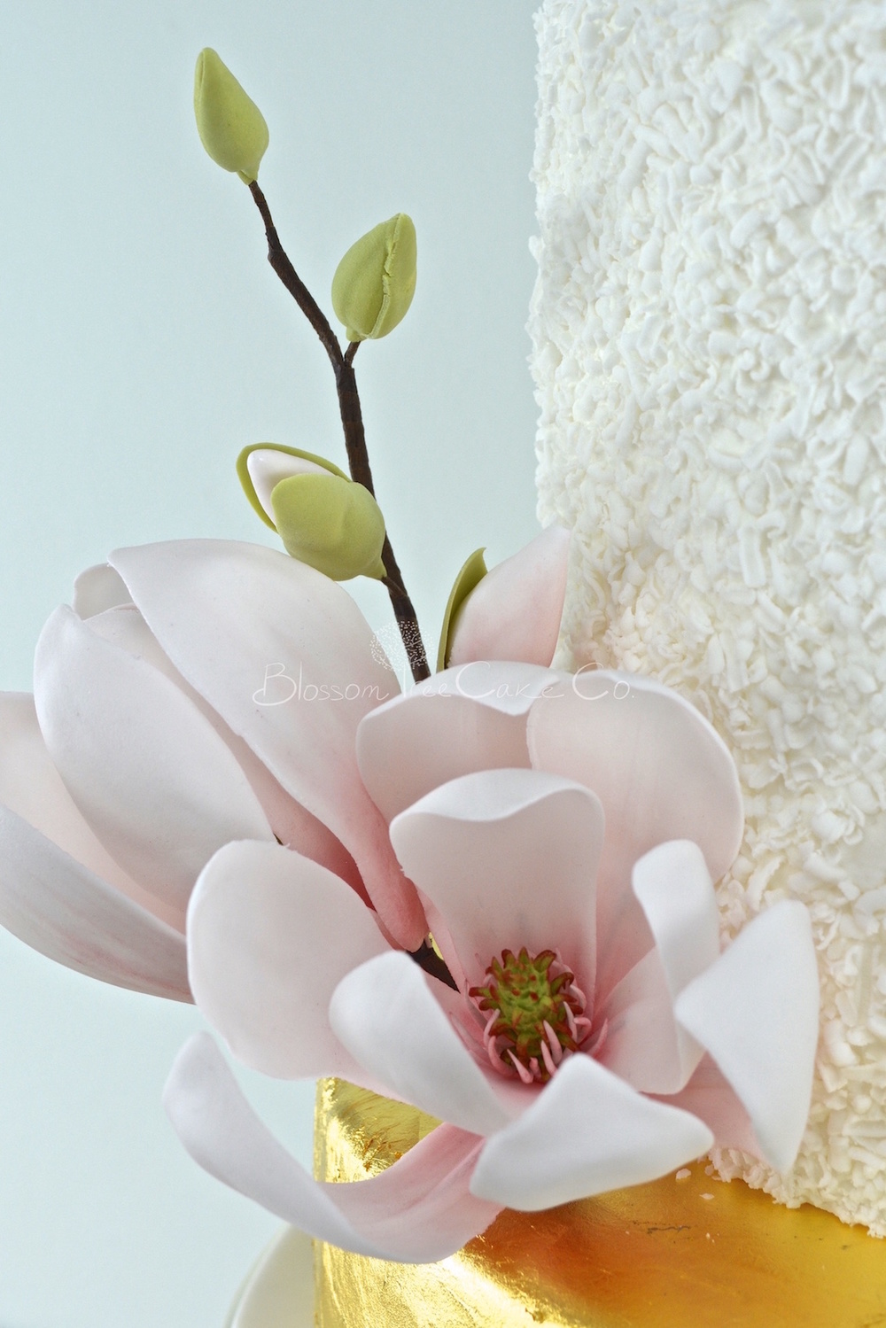 White and Gold Leaf with Magnolias wedding cake by Blossom Tree Cake Co Harrogate North Yorkshire_flower 2.jpg