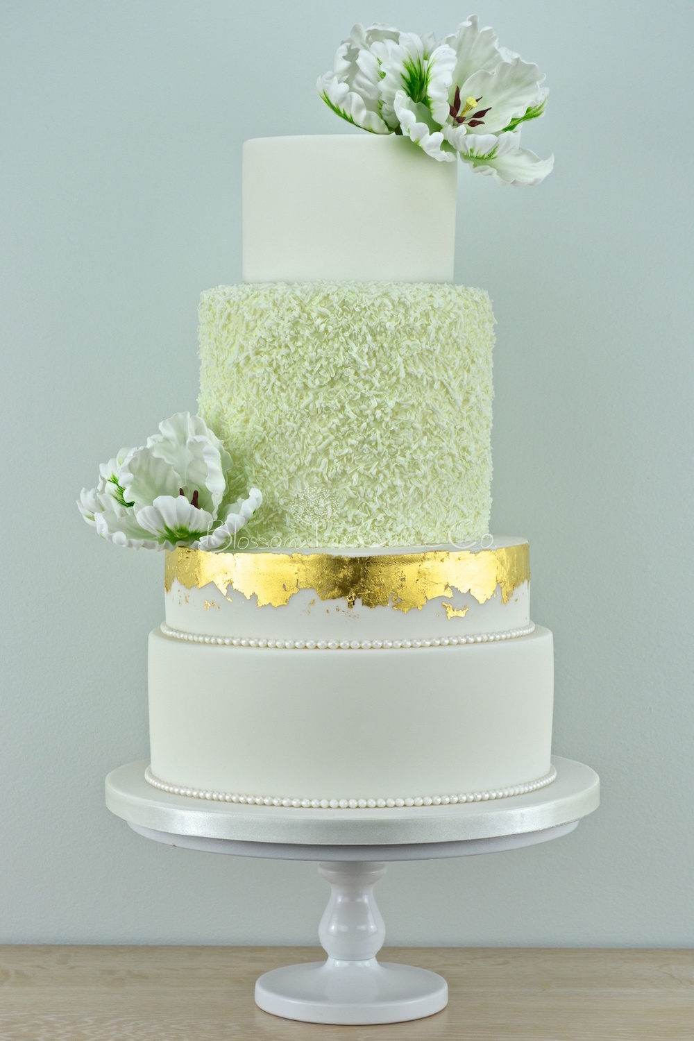 White and Green Parrot Tulips with Gold Leaf by Blossom Tree Cake Co Harrogate North Yorkshire.jpg