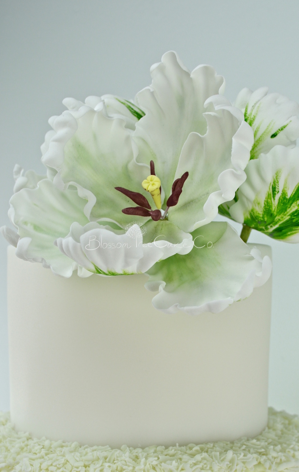 White and Green Parrot Tulips with Gold Leaf by Blossom Tree Cake Co Harrogate North Yorkshire_flower 2.jpg