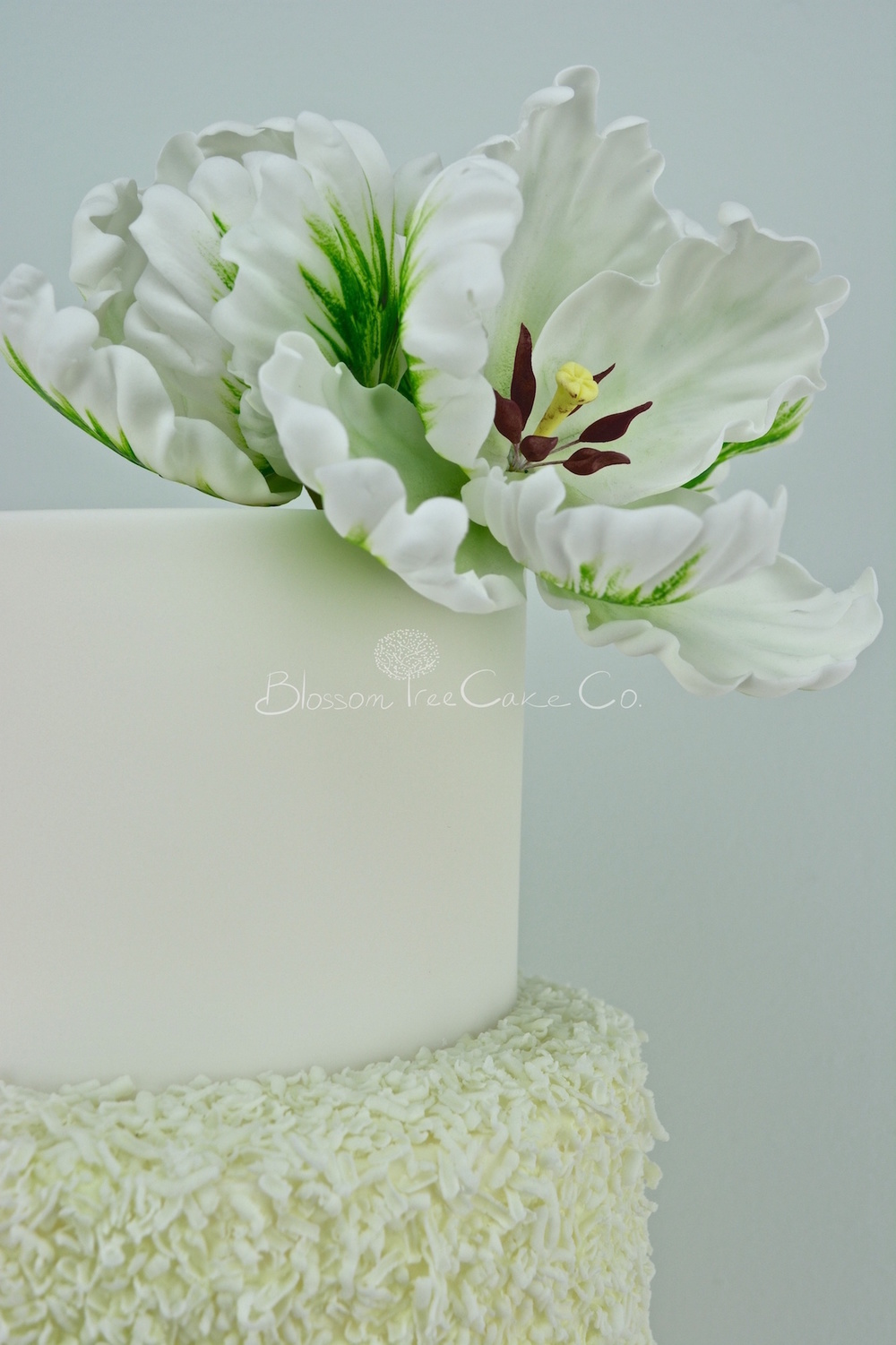 White and Green Parrot Tulips with Gold Leaf by Blossom Tree Cake Co Harrogate North Yorkshire_flower 1.jpg