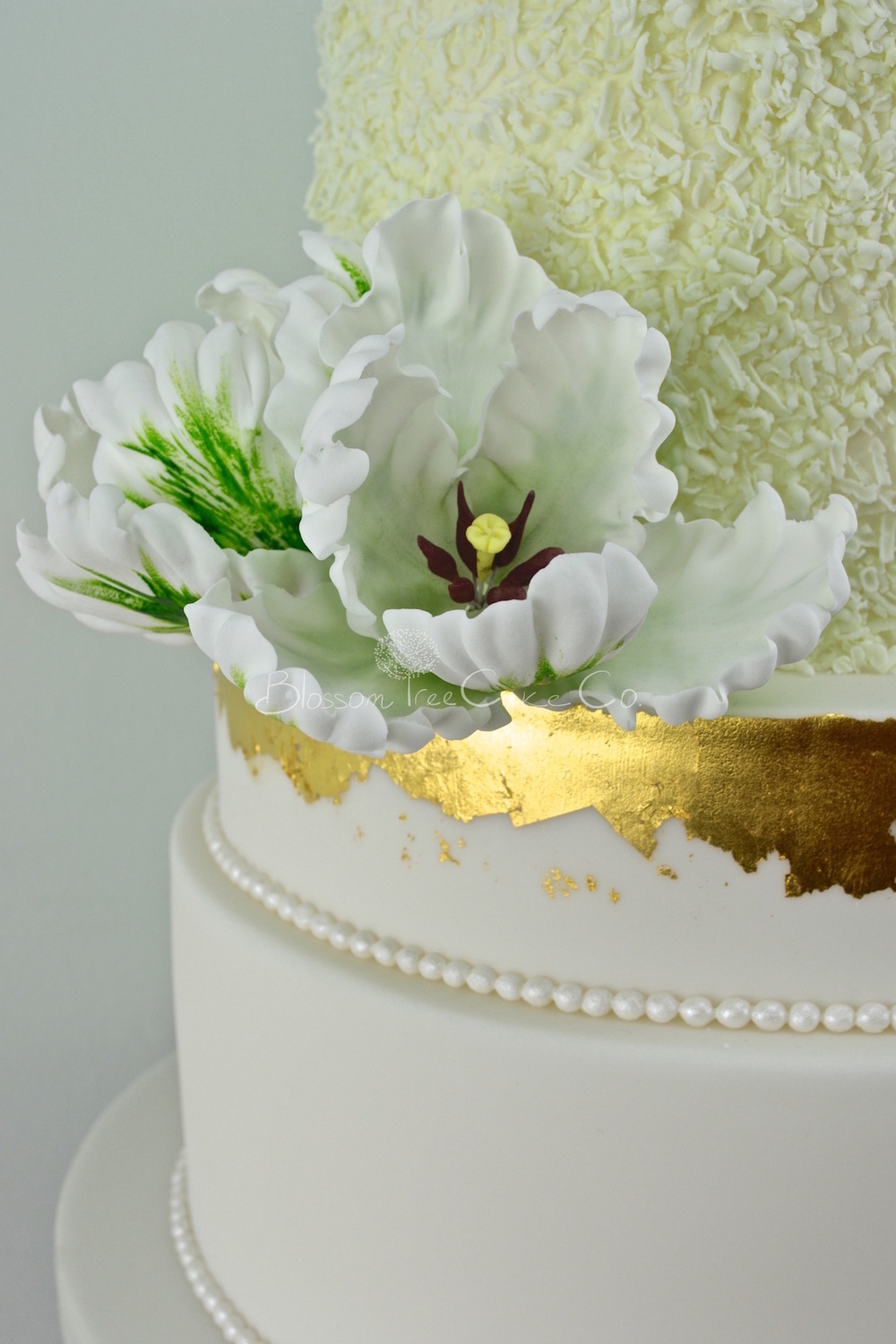 White and Green Parrot Tulips with Gold Leaf by Blossom Tree Cake Co Harrogate North Yorkshire_flower 3.jpg