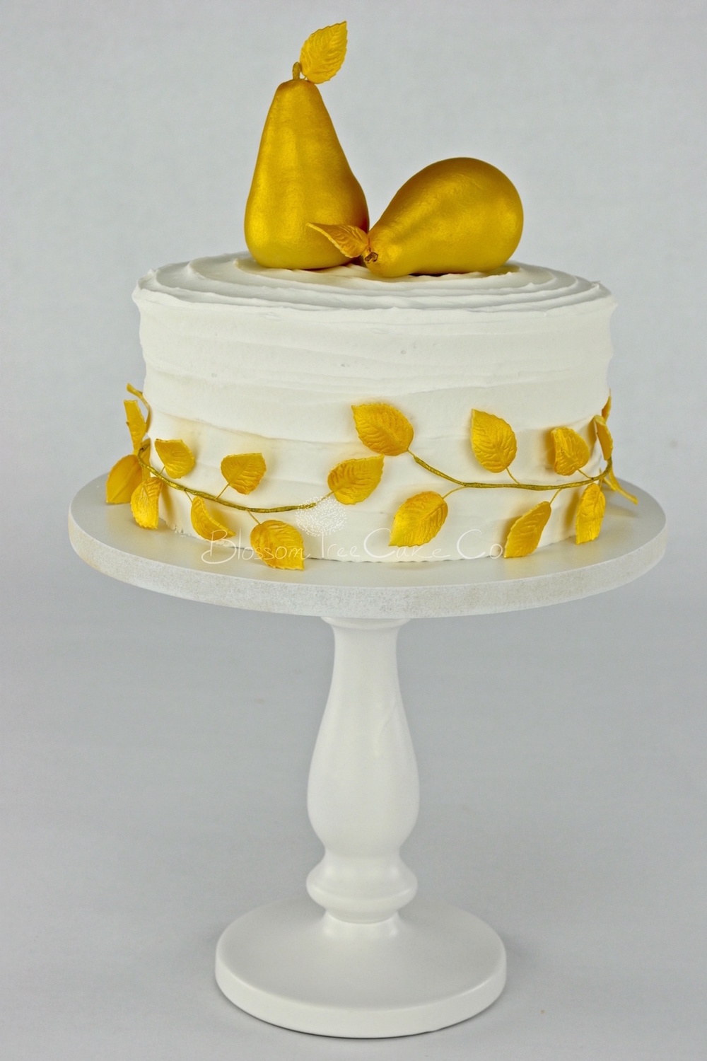 Gold Pears celebration cake by Blossom Tree Cake Co Harrogate North Yorkshire.jpg