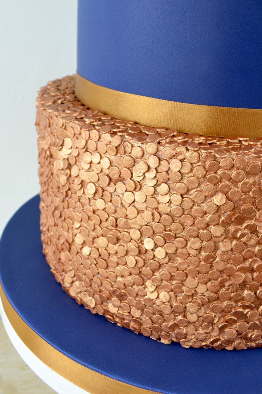 Copper Sequins wedding cake by Blossom Tree Cake Company Harrogate North Yorkshire