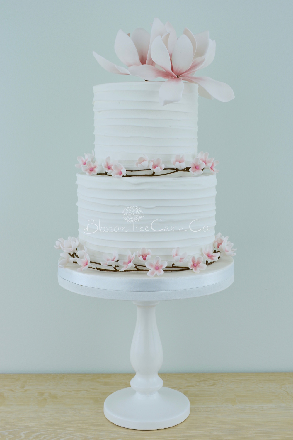Cherry Blossom & Magnolias wedding cake by Blossom Tree Cake Company Harrogate North Yorkshire