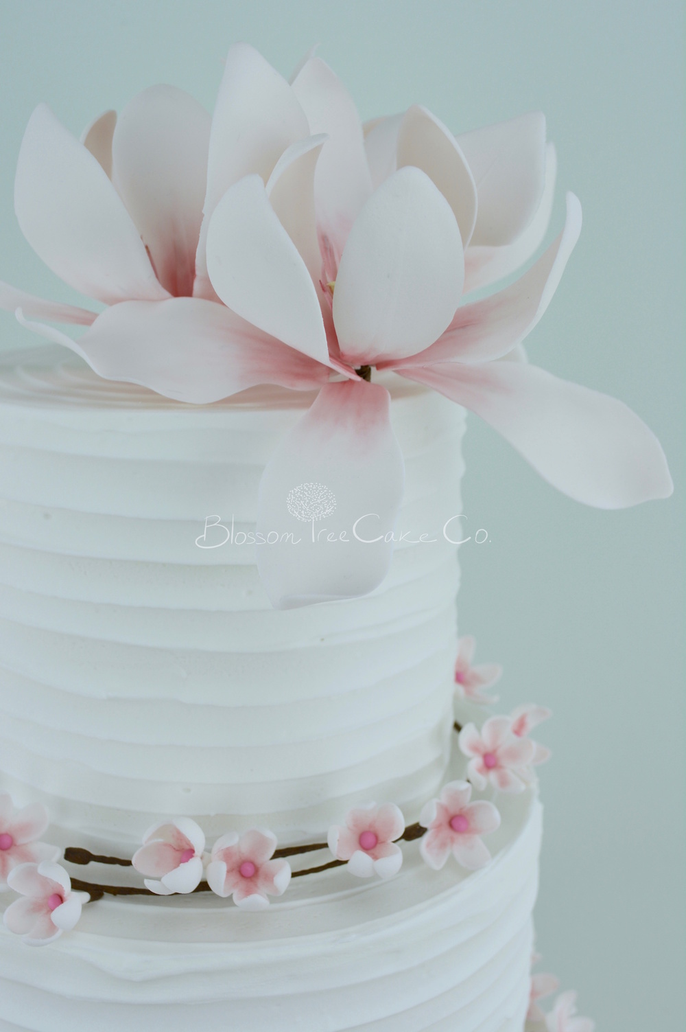 Cherry Blossom & Magnolias wedding cake by Blossom Tree Cake Company Harrogate North Yorkshire flower detail 1
