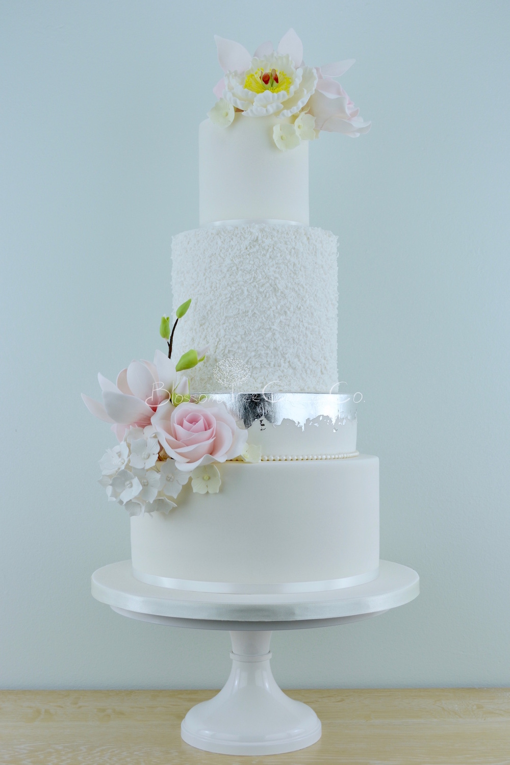 White and silver with pink flowers wedding cake by Blossom Tree Cake Company Harrogate North Yorkshire
