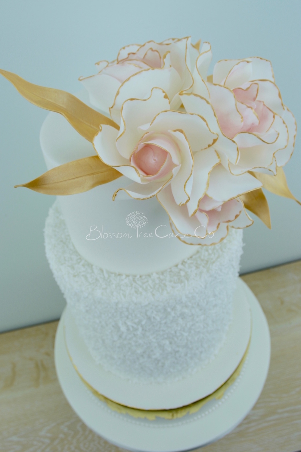 Blush Roses with Gold Leaf wedding cake by Blossom Tree Cake Company Harrogate North Yorkshire