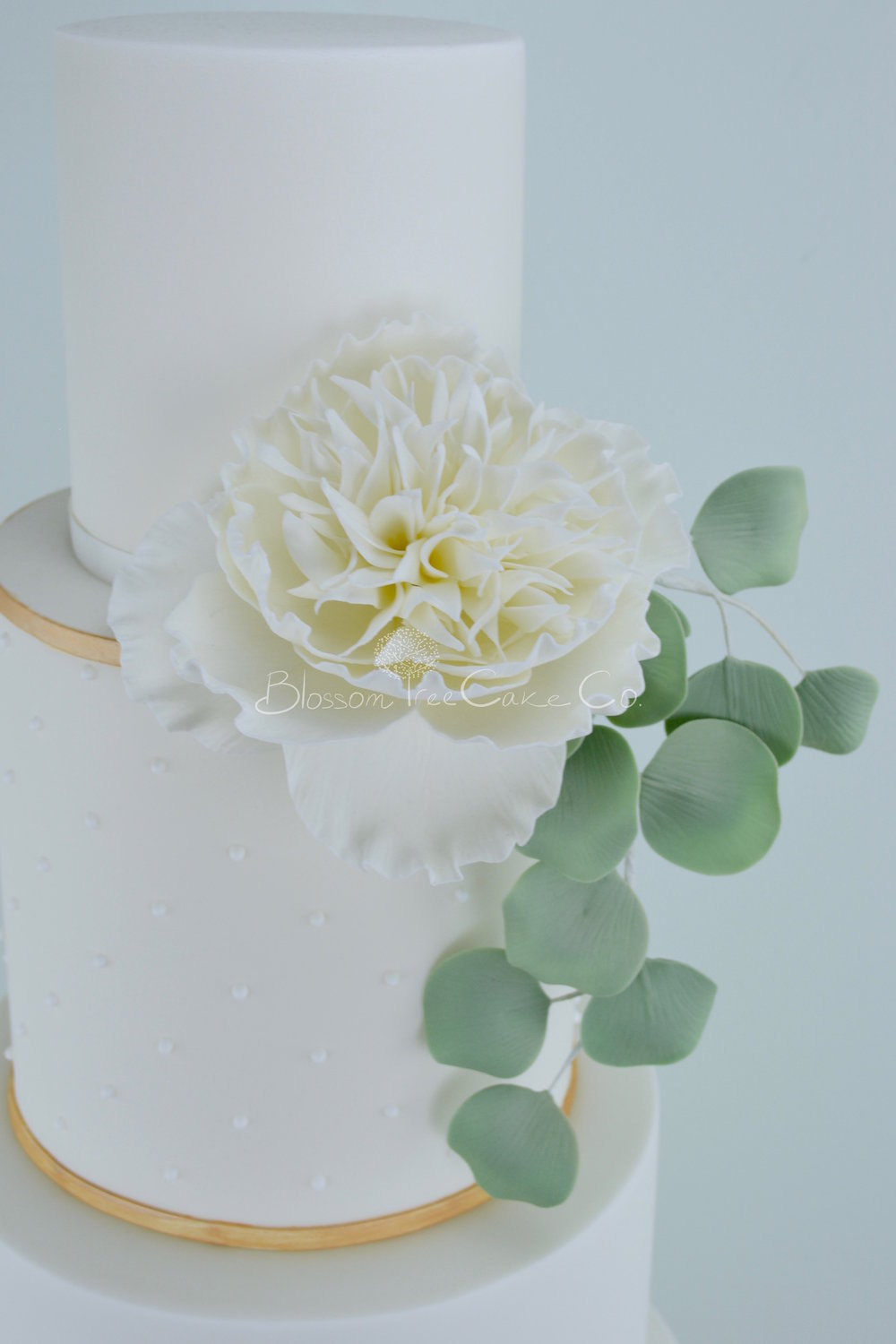 Peony and Eucalyptus wedding cake by Blossom Tree Cake Company Harrogate North Yorkshire