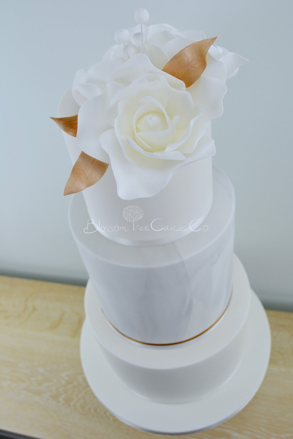 Marble and White Roses wedding cake by Blossom Tree Cake Company Harrogate North Yorkshire