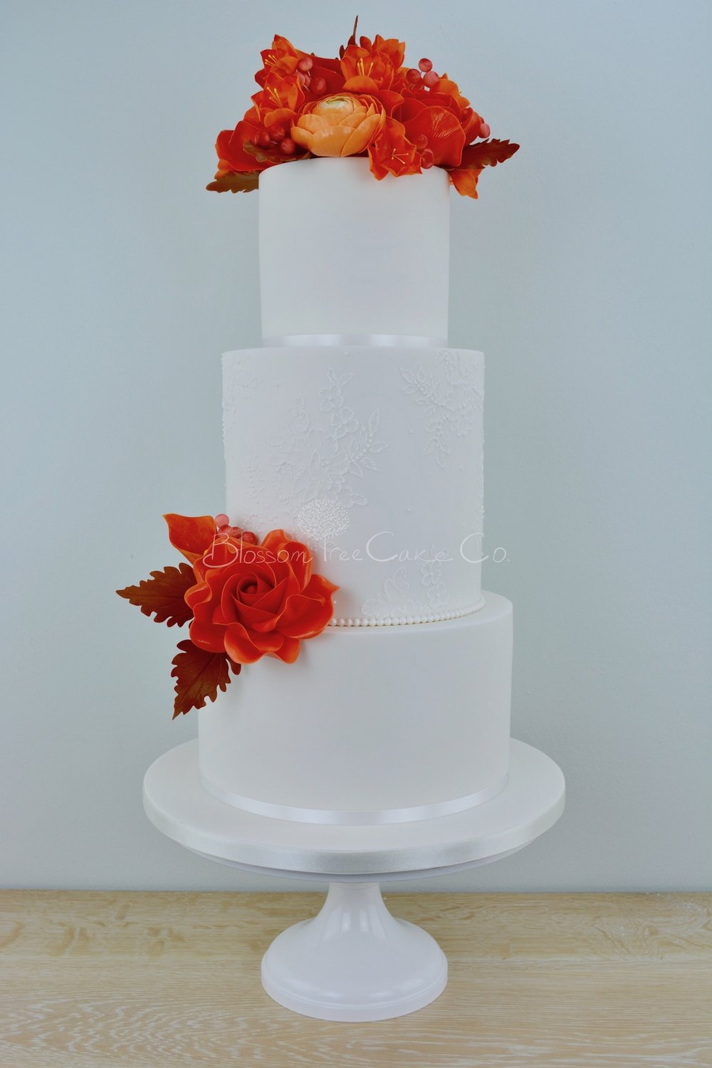 Autumn Lace wedding cake by Blossom Tree Cake Company Harrogate North Yorkshire
