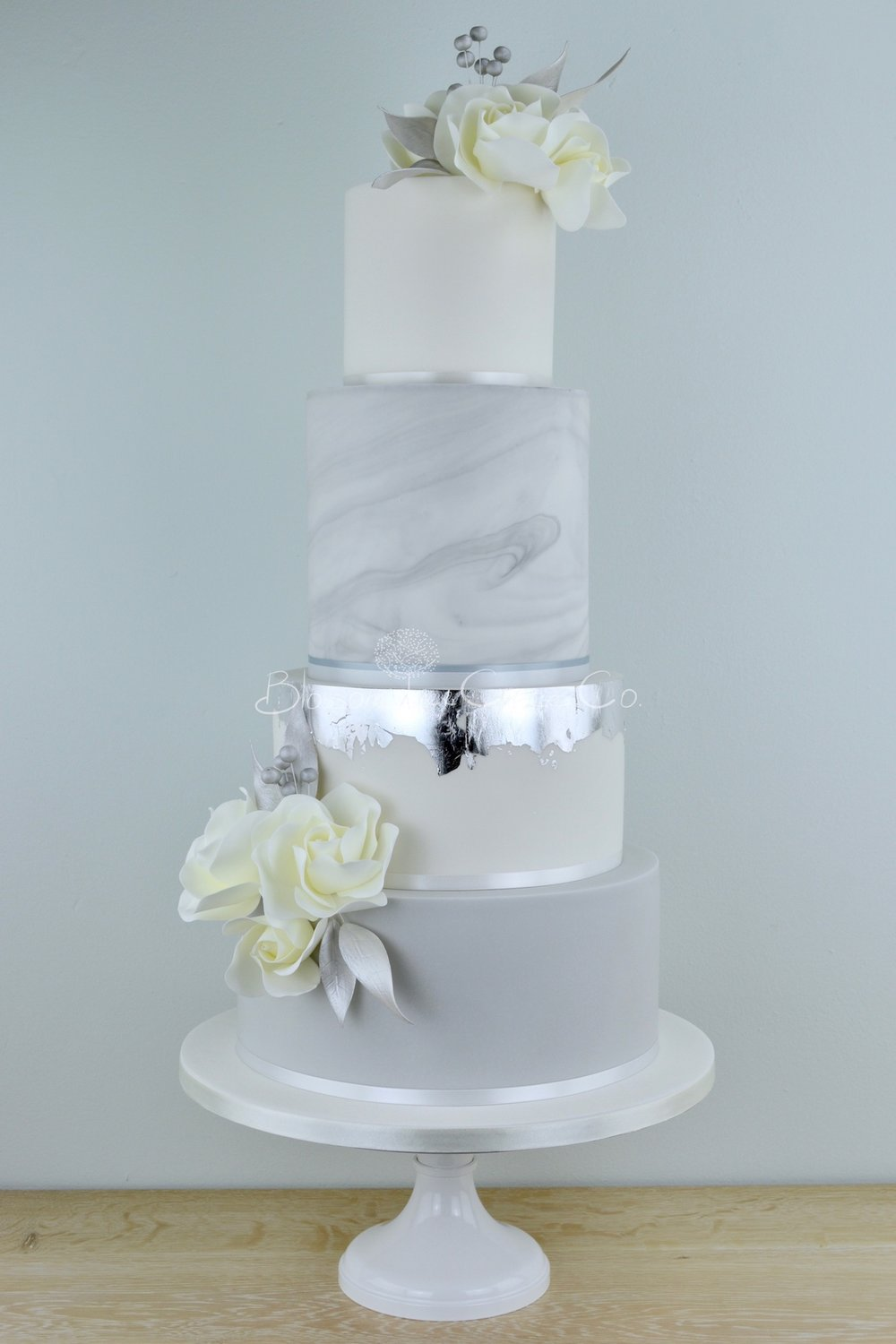 Silver Marble wedding cake by Blossom Tree Cake Company Harrogate North Yorkshire