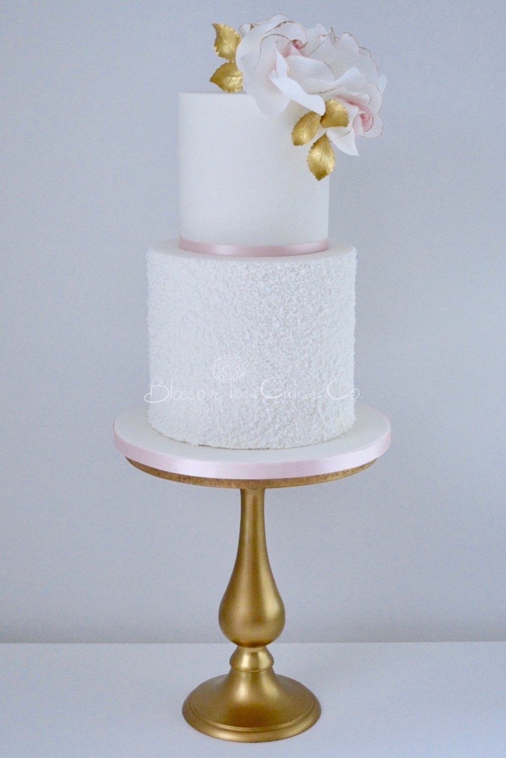 Blush and Gold Roses celebration cake by Blossom Tree Cake Company Harrogate North Yorkshire