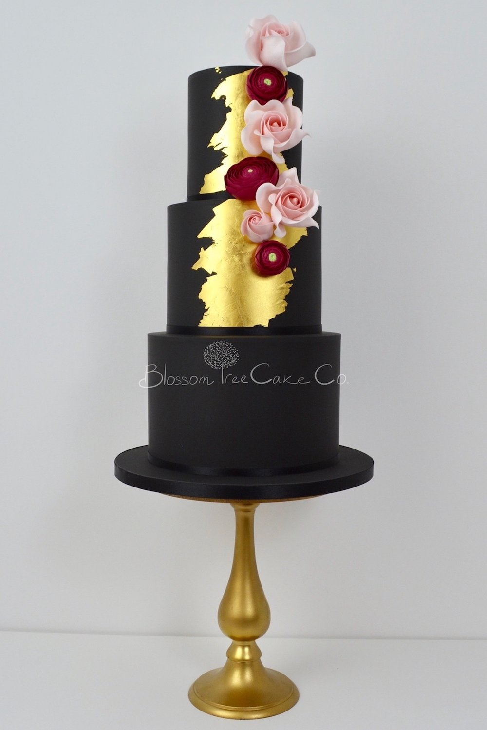 Black and Gold wedding cake by Blossom Tree Cake Company Harrogate North Yorkshire