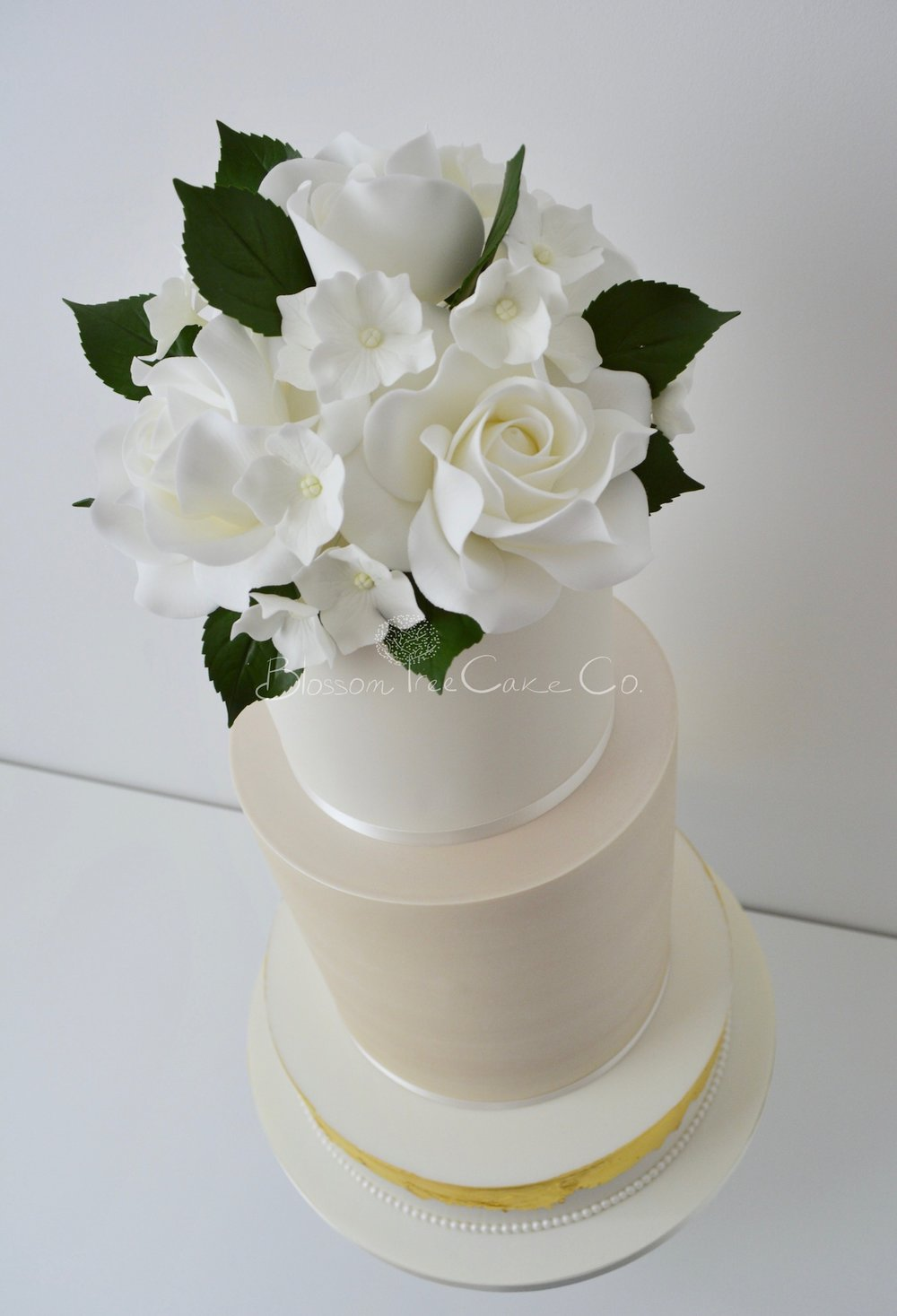 Champagne and White Roses wedding cake by Blossom Tree Cake Company Harrogate North Yorkshire