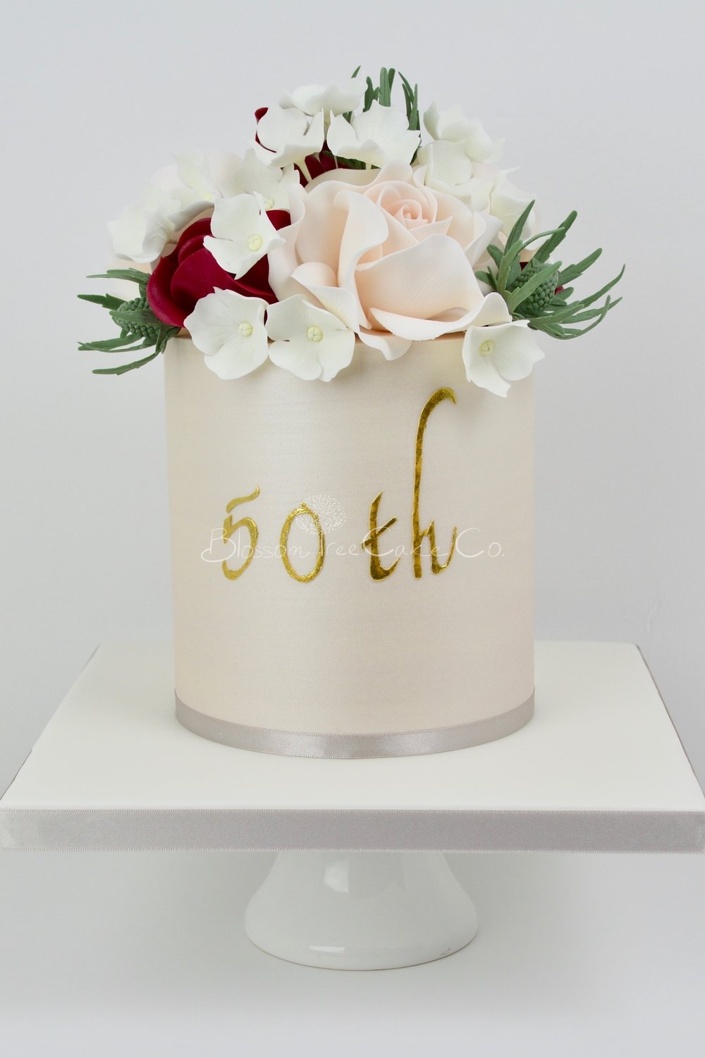 50th Champagne Gold birthday cake by Blossom Tree Cake Company Harrogate North Yorkshire