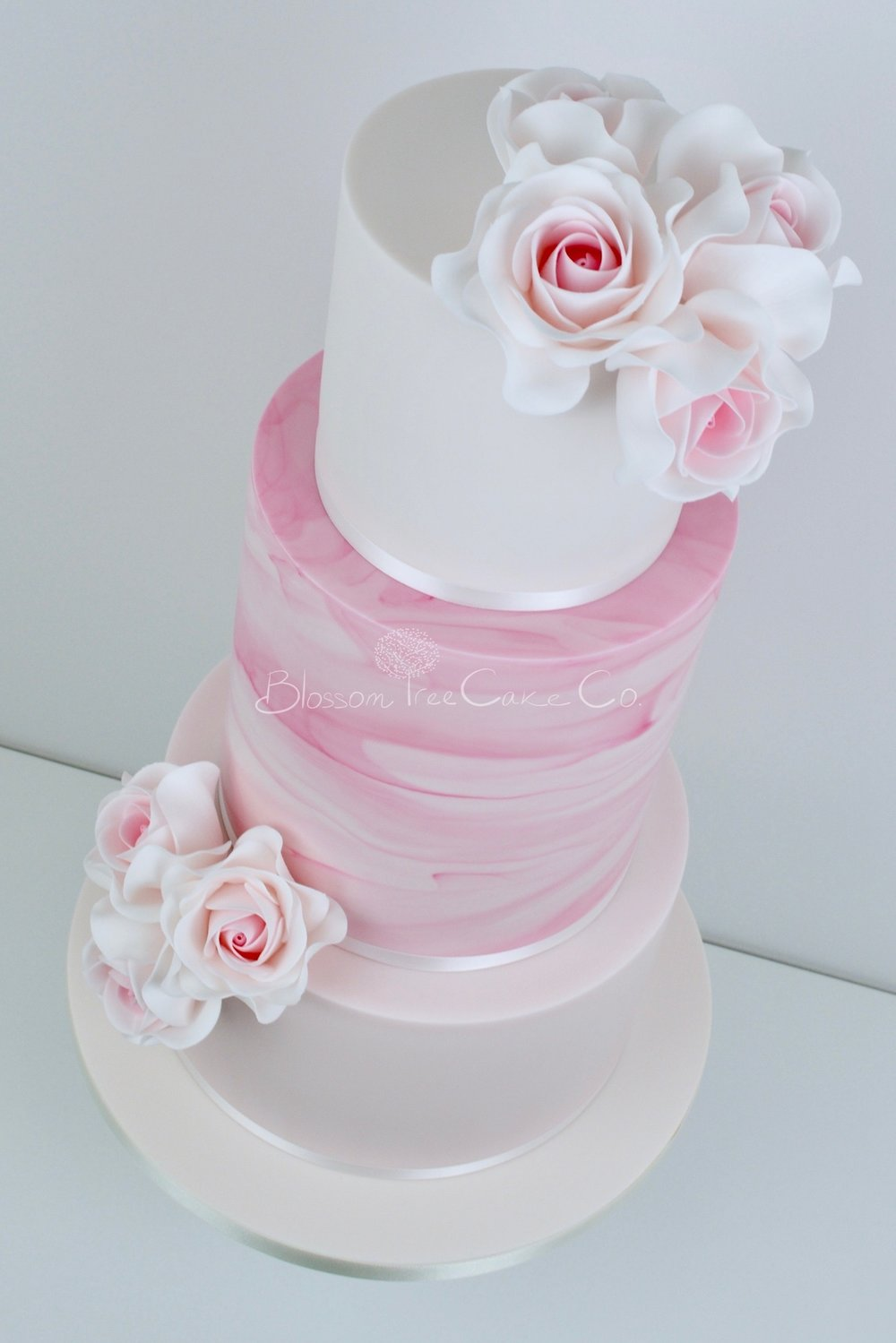 Pink Marble wedding cake by Blossom Tree Cake Company Harrogate North Yorkshire