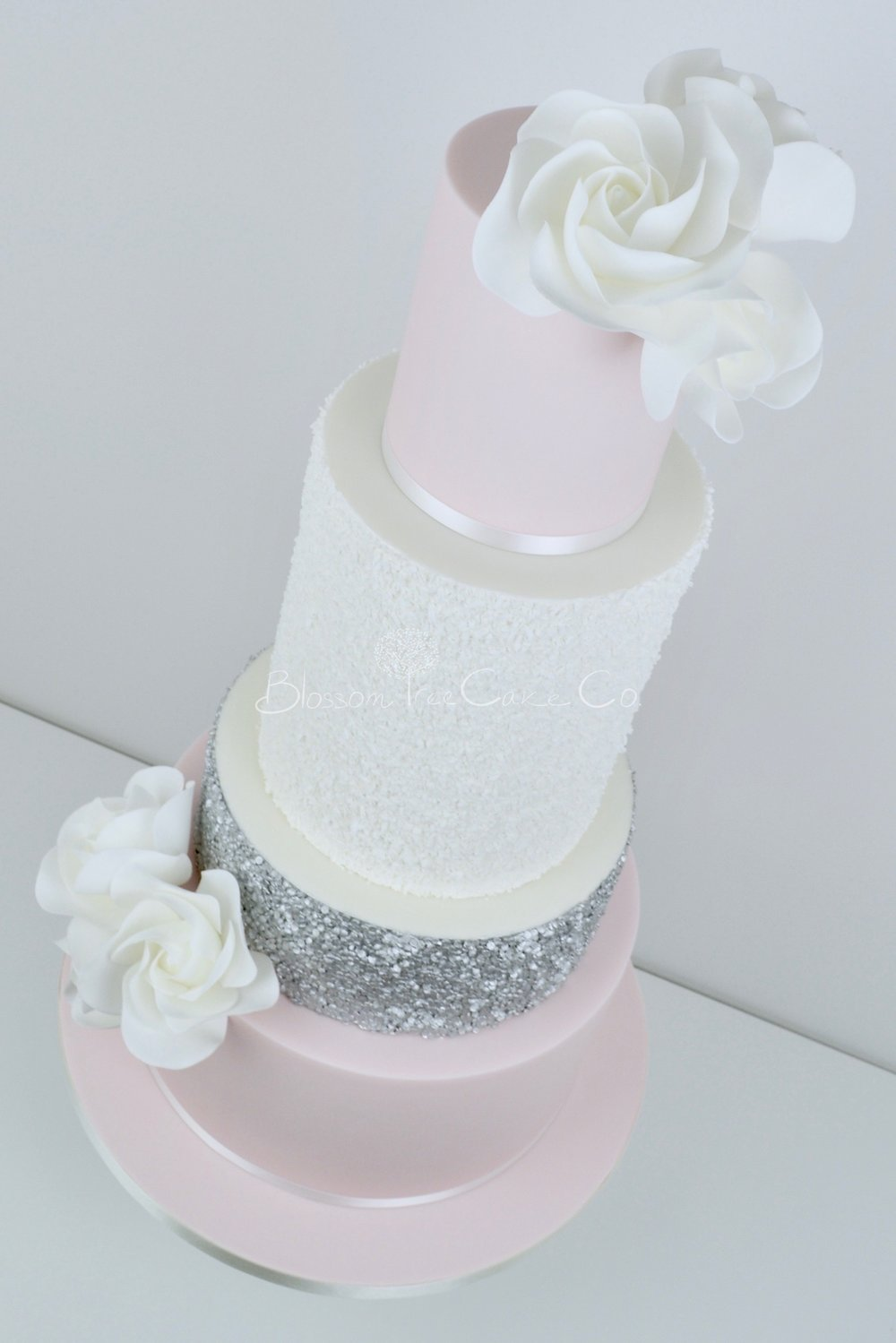 blush and silver sequins wedding cake by Blossom Tree Cake Company Harrogate North Yorkshire