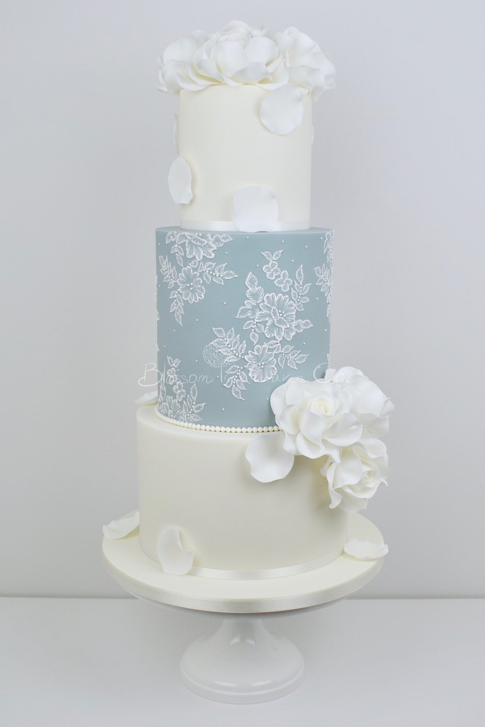 White Roses and Lace wedding cake by Blossom Tree Cake Company Harrogate North Yorkshire