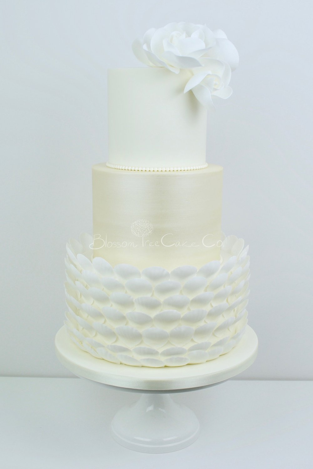 White Roses with Pearls wedding cake by Blossom Tree Cake Company Harrogate North Yorkshire