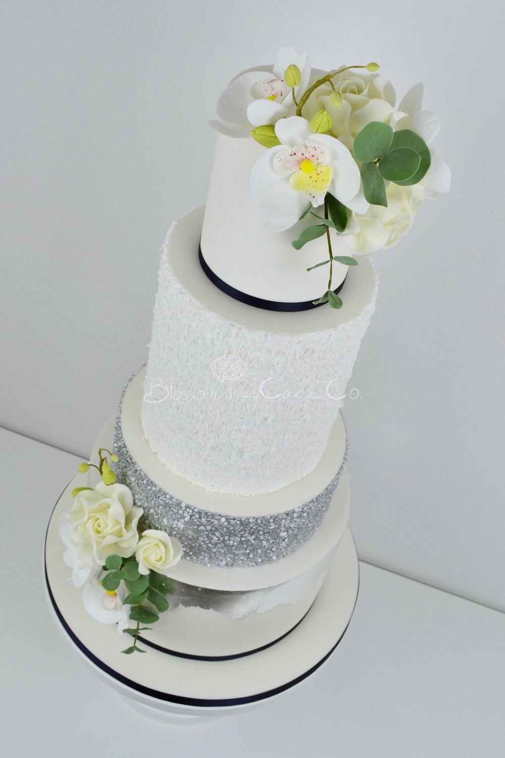 Silver Orchids wedding cake by Blossom Tree Cake Company Harrogate North Yorkshire