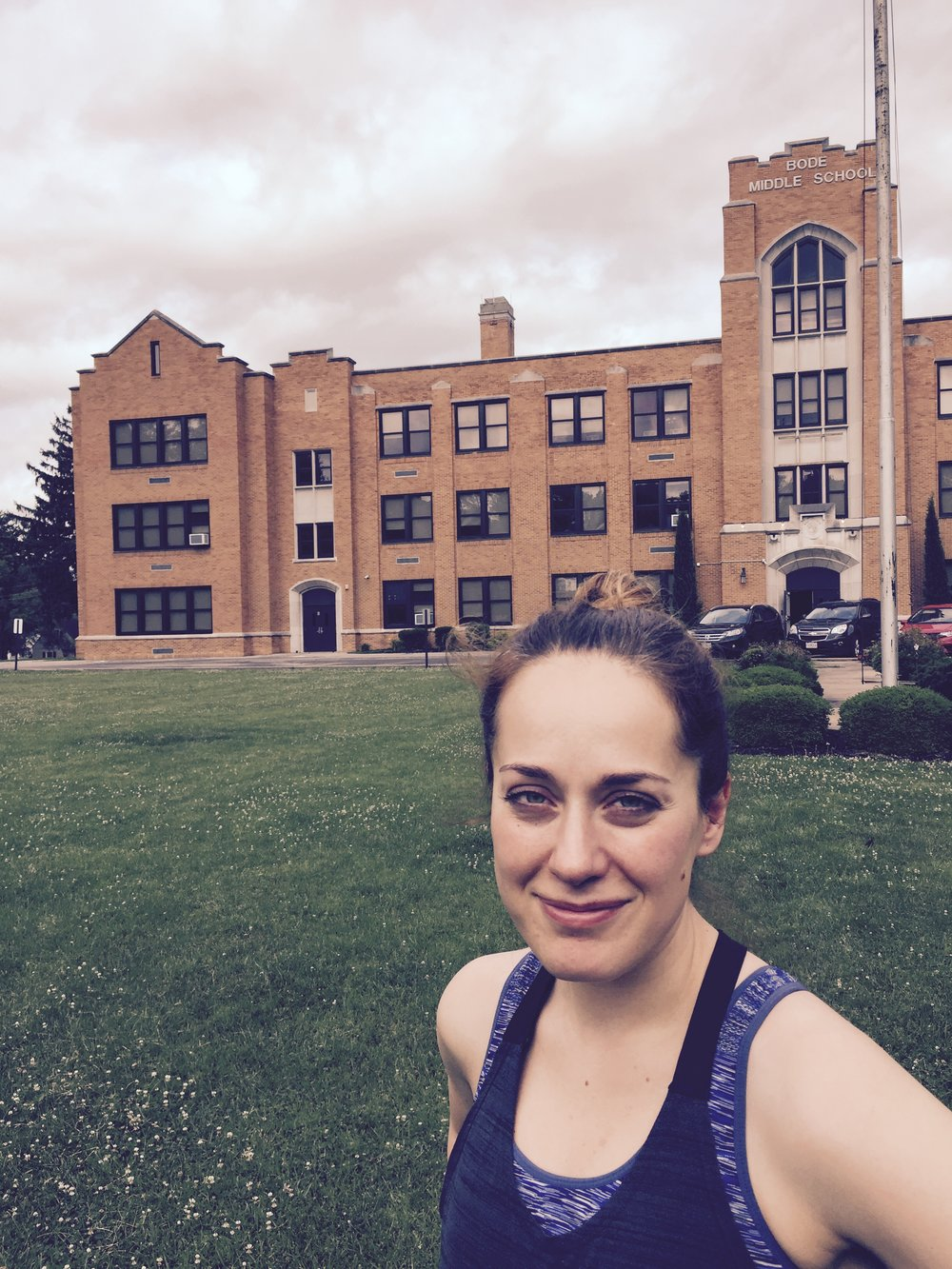 July 2017: Standing in front of the school that gave me the roughest years of my young life--George Bode Middle School.