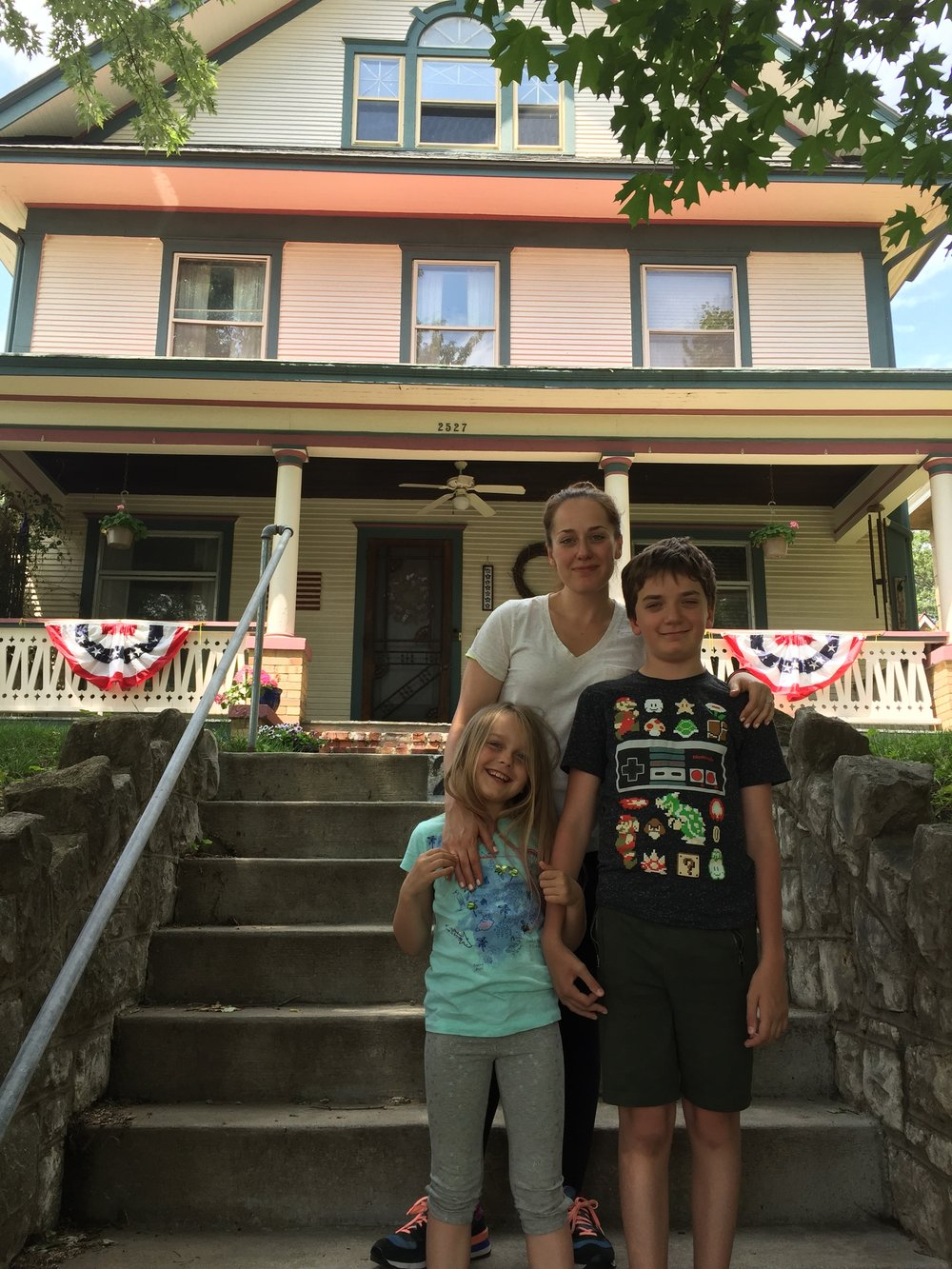 The home I grew up in: 2527 Felix. It looks the same except we did not have the flags, wreath or hand rail on steps.