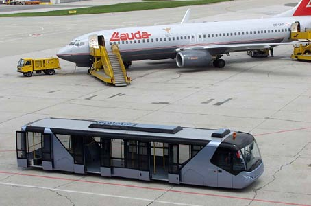 It is common in Europe to leave the plane via steps and walk on to a bus that drives you to the terminal.