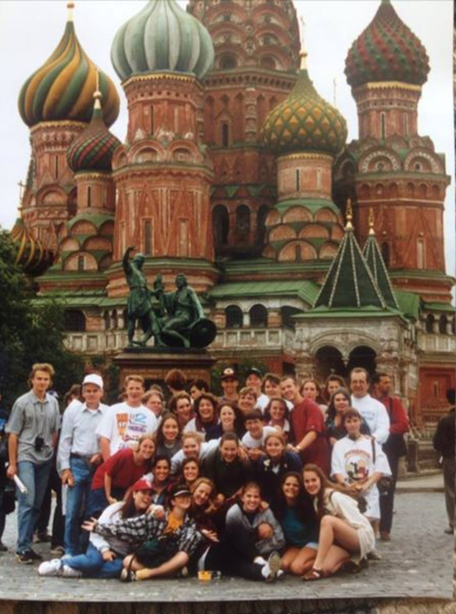 As a teenager, I took summer trips to serve in Jamaica {in schools, not beaches}, Cost Rica, Venezuela and Belarus/ Russia. This pic is from my last trip as a teen at Red Square. I was 17 years old and the one in front row, furthest to the right.