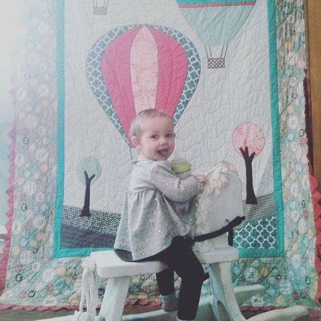 Love my baby girls #quilt. Designed by us, sewn by grandma. #diy #handmade #hotairballoon