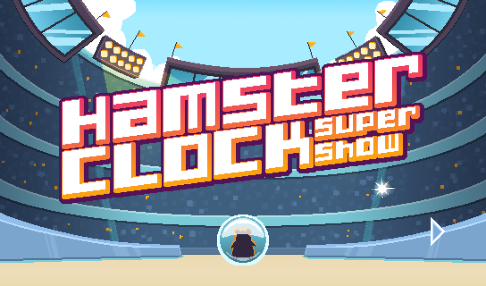 Hamster Clock Super Show (2015) A mobile game where players control a hamster as he competes on a game show. As an intern for Chickadee Games, I assisted in animating the trailer, prototyping, play-testing, and creating game assets including animations, object sprites, and the icon. [Play it here.]