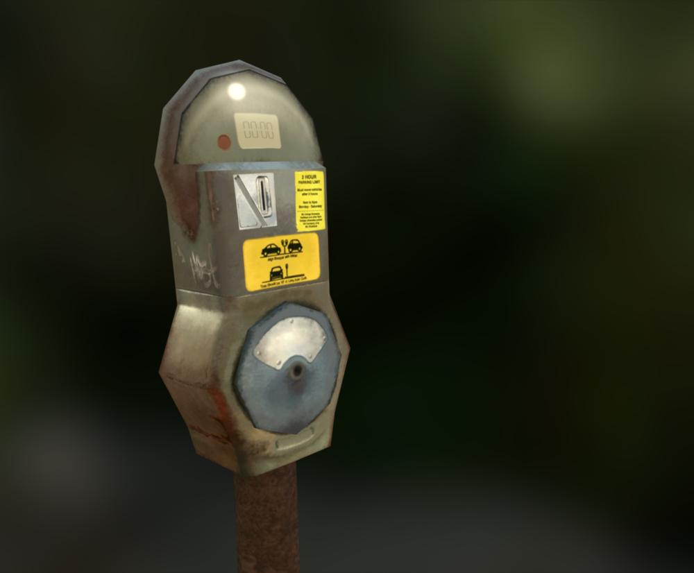 Low Poly Parking Meter .Maya, Photoshop.