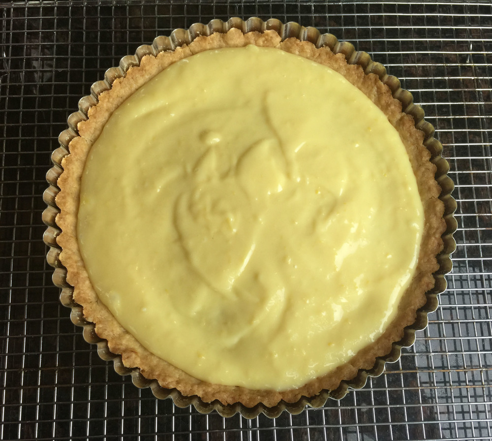 Lemon curd in a baked tart shell