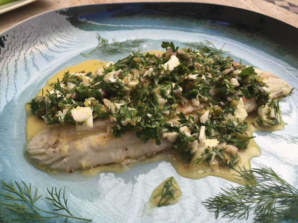 Seared barramundi with gribiche