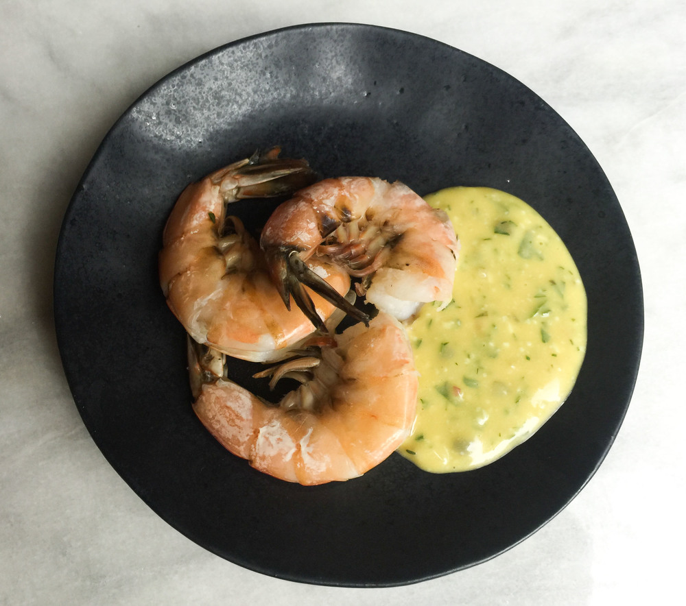 Boiled shrimp with four-minute egg gribiche