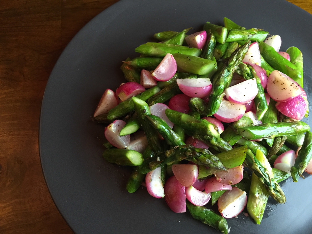 Roasted asparagus and radishes from Steven Satterfield's Root to Leaf cookbook