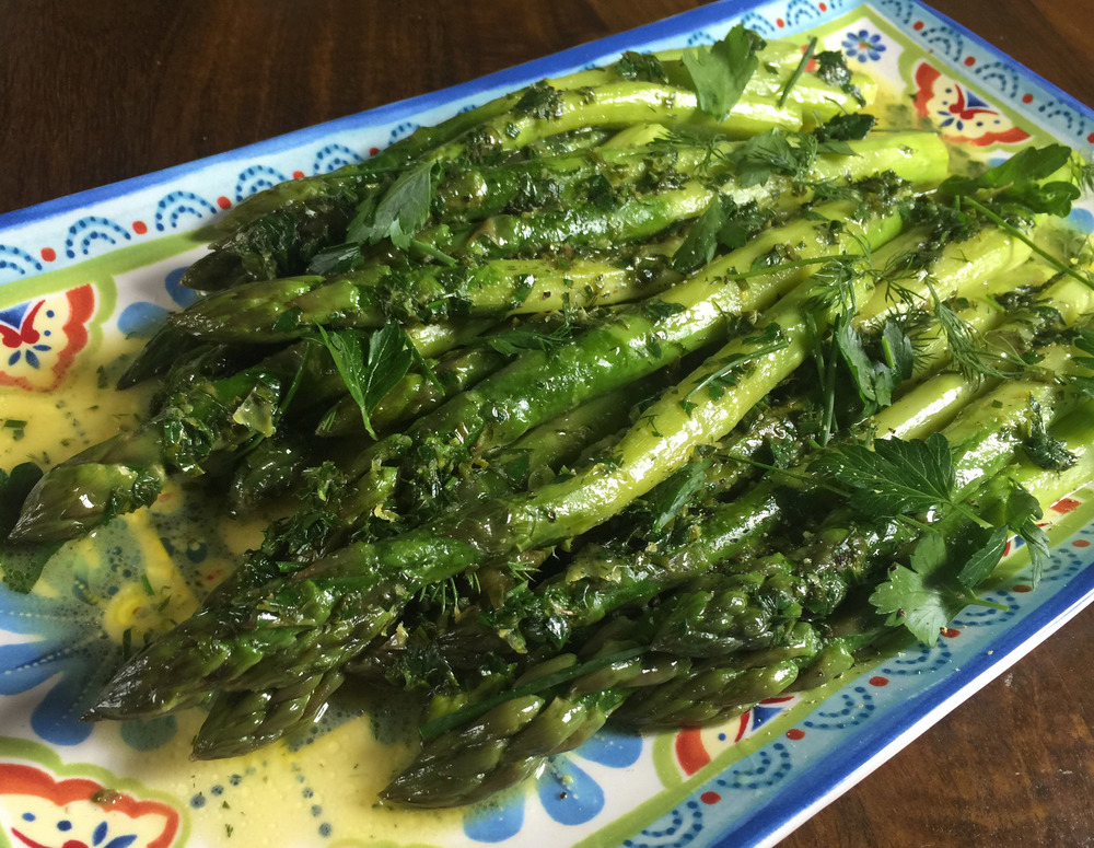Butter-braised asparagus with herbs