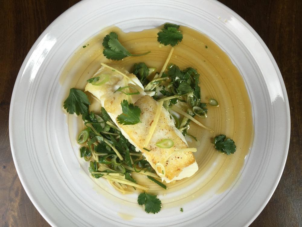 Seared halibut in ginger vinaigrette