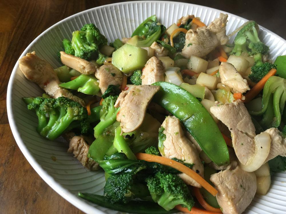 Chicken and veg stir-fry