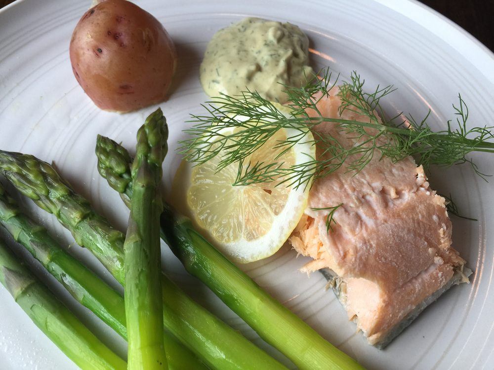 Poached char with dill sauce