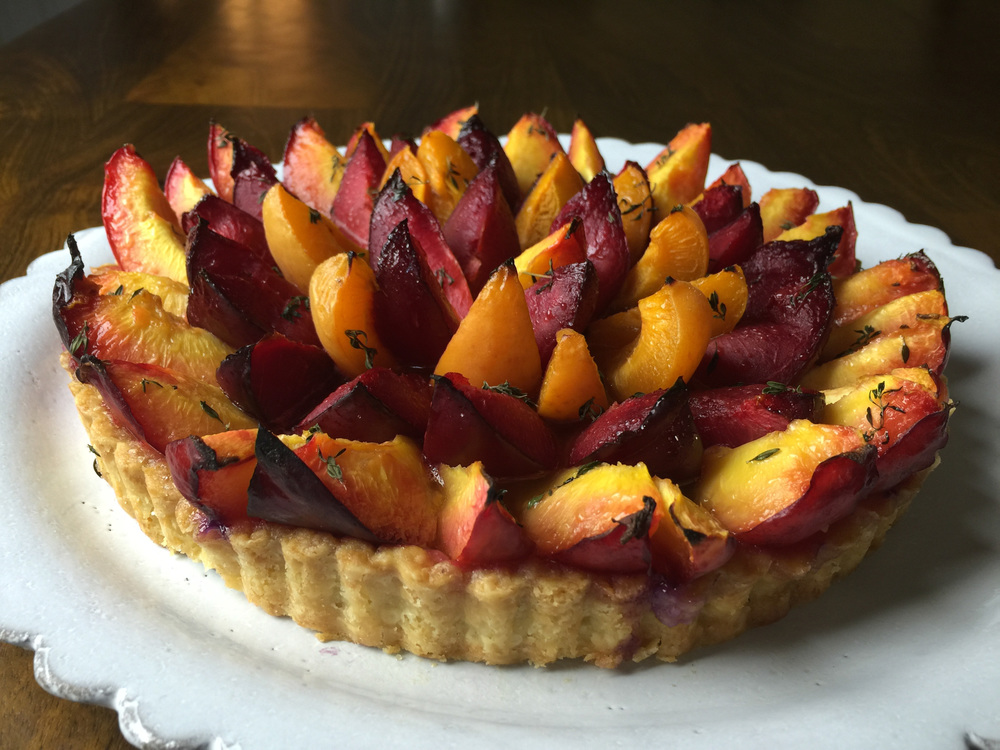 Stone fruit tart with thyme