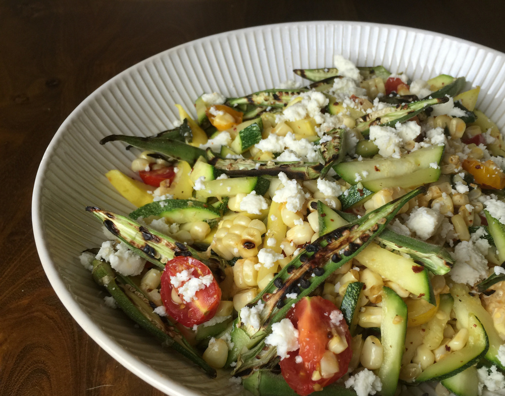Warm summer salad with queso fresco
