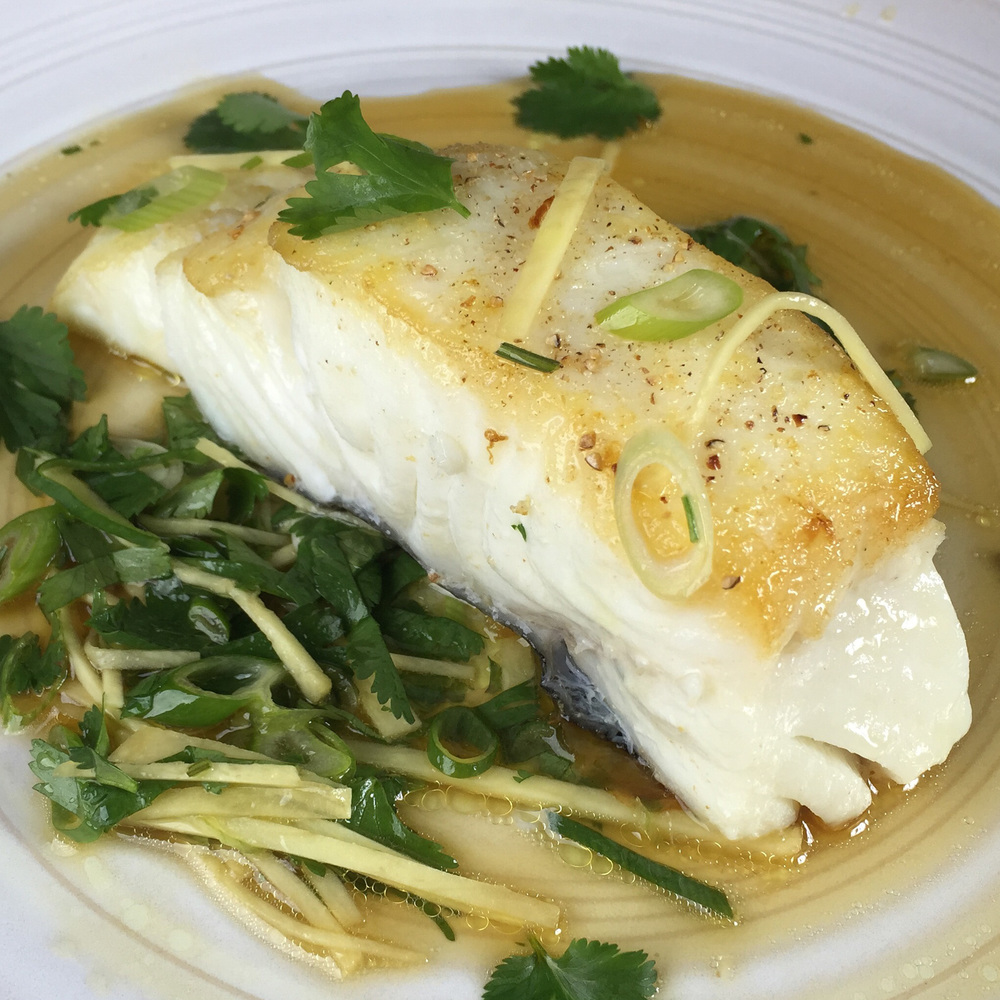 Seared Halibut in Ginger Vinaigrette