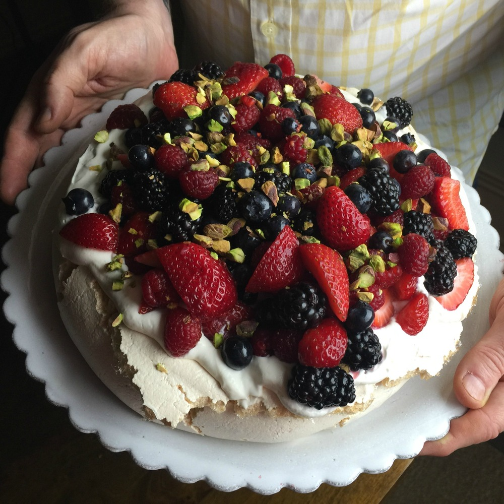 Berry Pavlova with Pistachios
