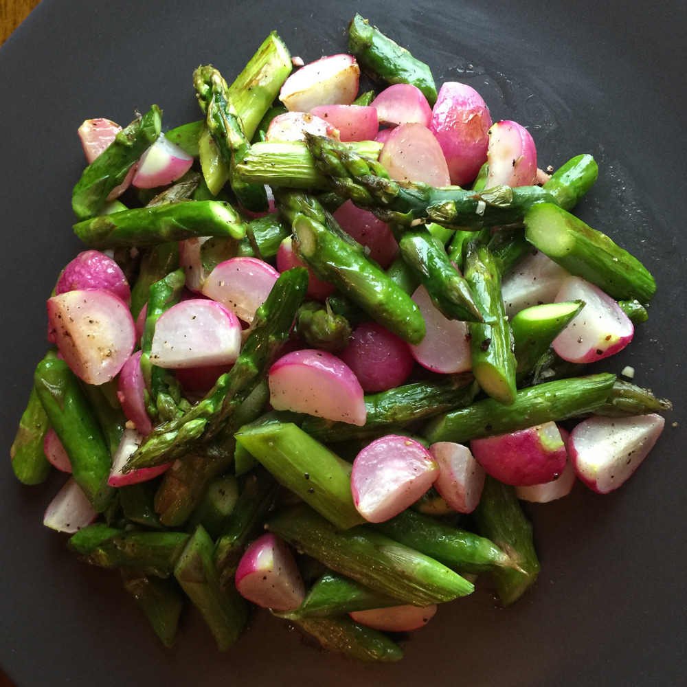 Roasted Asparagus with Radishes (Vegan)