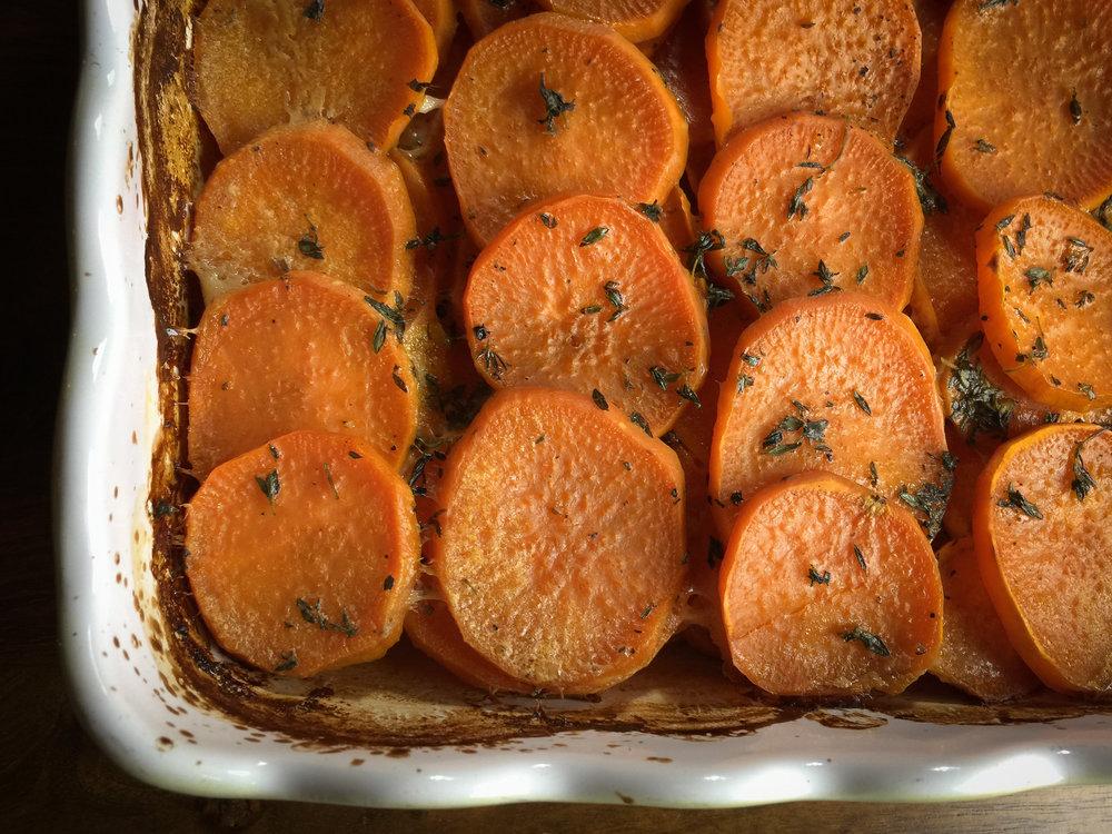 Regina's Savory Sweet Potato Gratin