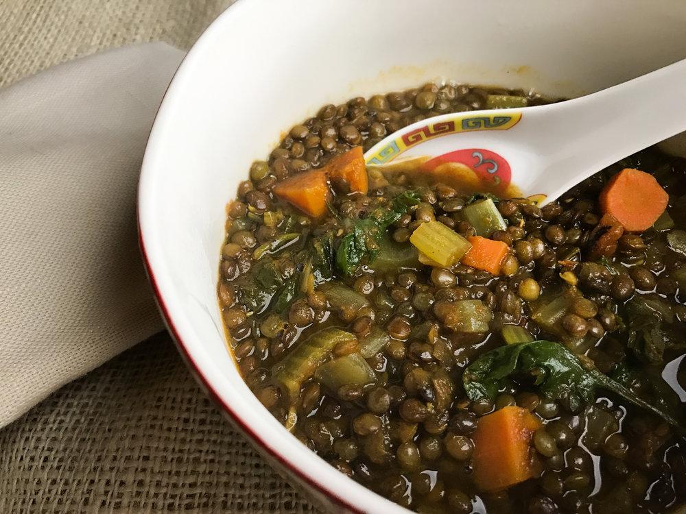 Green lentil and baby-kale super detox soup